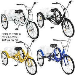 """20/24/26"""" Adult Tricycle 1/7 Speed 3-Wheel For Shopping W/ I"""