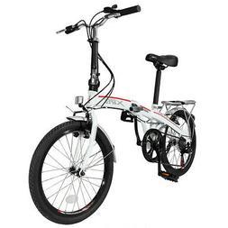 "Xspec 20"" 7 Speed Folding Compact City Commuter Bike, White"