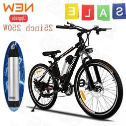 "ANCHEER 250W 25"" E-Bike Power Plus Electric Mountain Bike w/"