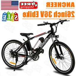 "ANCHEER 250W 26"" E-Bike Power Plus Electric Mountain Bike w/"