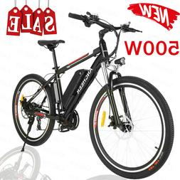 "ANCHEER 26"" 500W Power Plus Electric Bicycle E-Mountain Bike"