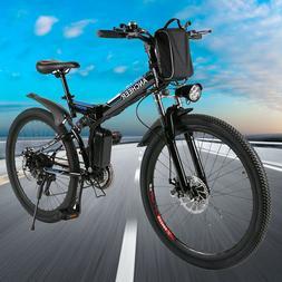 "Ancheer 26"" Folding Electric Mountain Bike Bicycle Ebike W/L"
