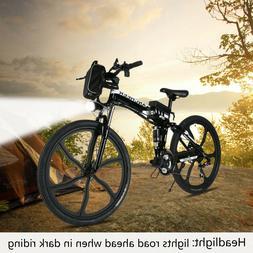 "ANCHEER 26"" Folding Electric Mountain Bike Bicycle Ebike W/"