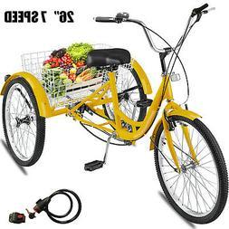 """Adult 26"""" 3-Wheel Shimano 7-Speed Tricycle Trike Bicycle Bik"""