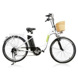 """Nakto City Electric Bicycle Women 26"""" CAMEL White with Plast"""