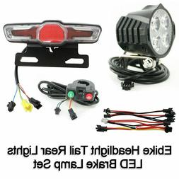 Ebike Headlight Tail Rear Lights LED Brake Lamp Electric Bik