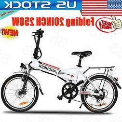 "ANCHEER Folding 250W 20"" Hub Motor Electric Bike w/ 36V 8Ah"