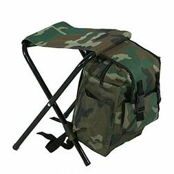 Dilwe Folding Camping Chair, Backpack Stool with Cooler Insu