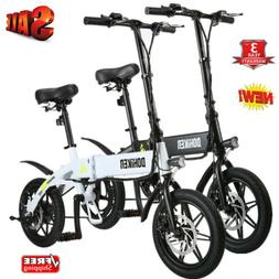 DOHIKER Folding Electric Bike Collapsible Bicycle w/ LED Hea