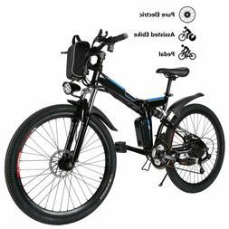 "ANCHEER Folding Electric Mountain Bike 26"" Premium Full Susp"