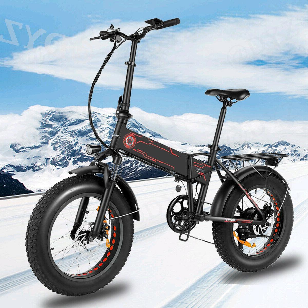 500W 20INCH Folding Electric Bike Beach Snow EBike Fat -Tire
