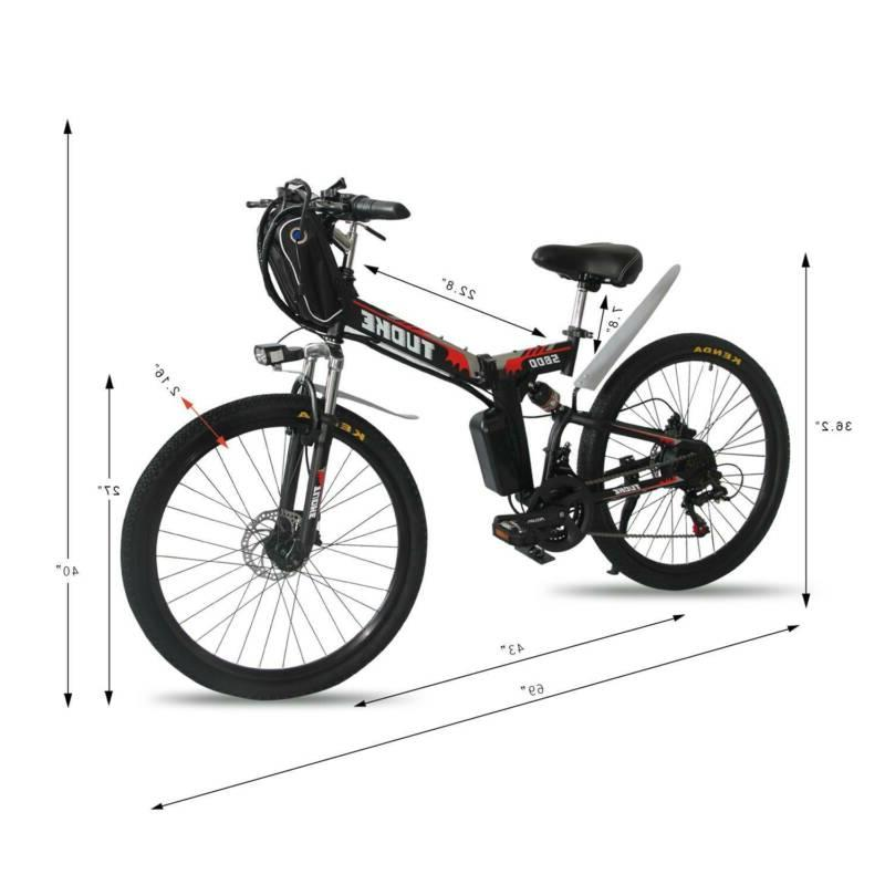 """26"""" Electric Folding Mountain EBike With 36V Li-Battery Red"""