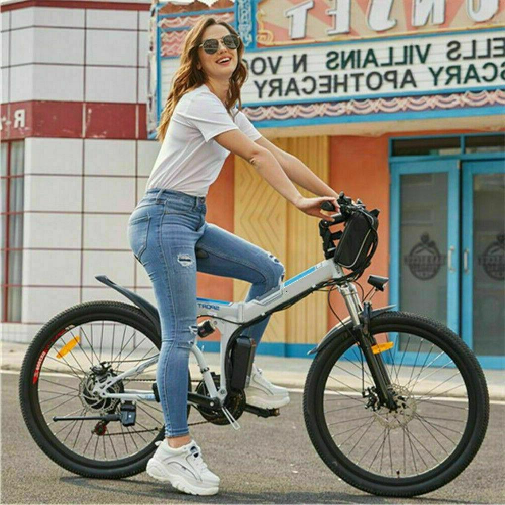 New 26''Folding Electric Mountain Bike,8Ah Li-Battery+ 21 Shock-Absorbing