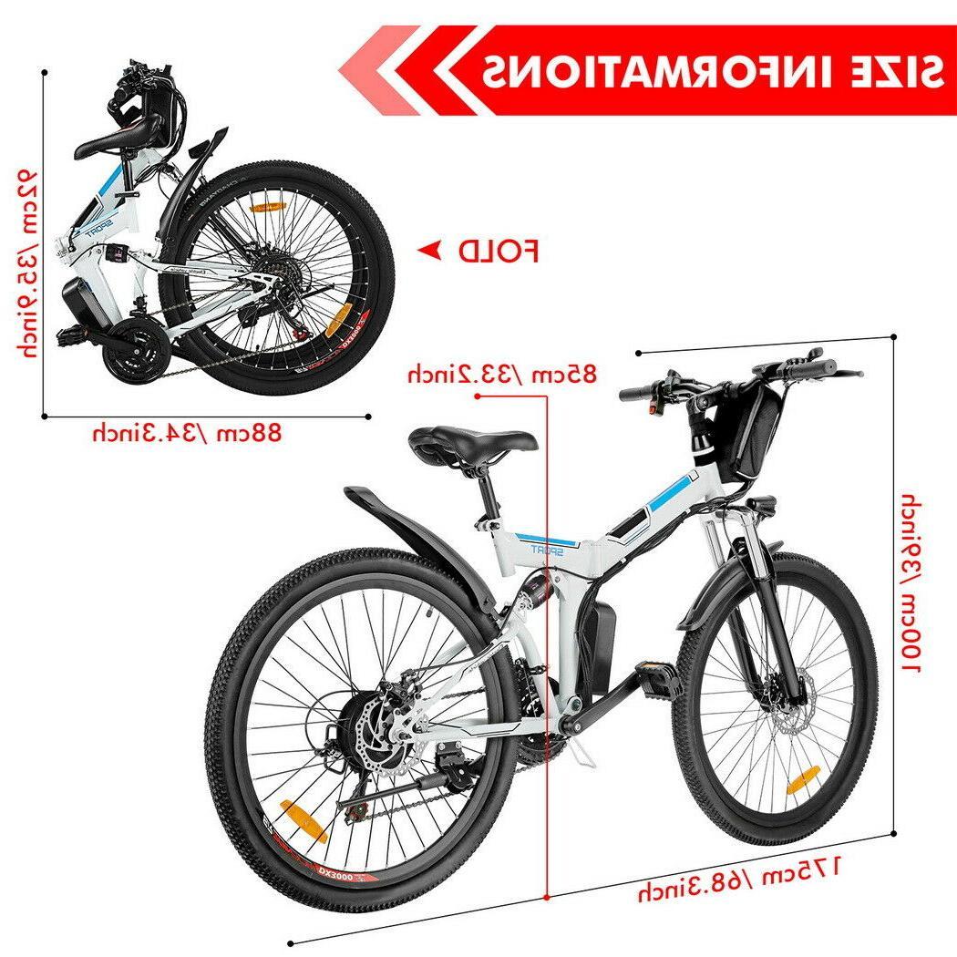 New 26''Folding Electric Bike,8Ah Shock-Absorbing