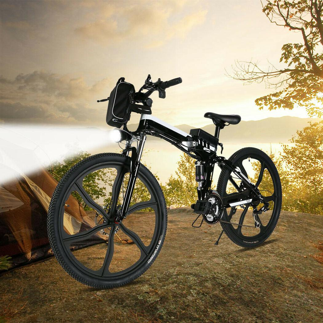 26INCH Mountain Bike Folding E-Bike Bicycle 21 Black