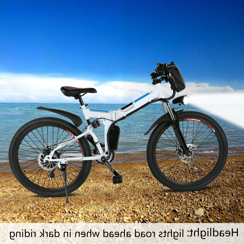 "ANCHEER 26"" Electric Bike E-Bike Folding Mountain Bicycle Pr"