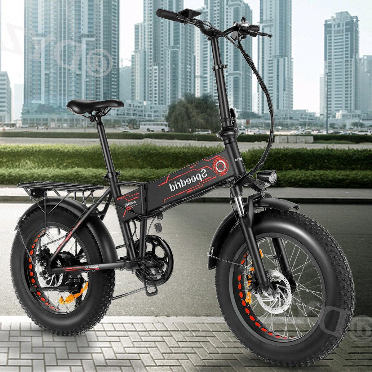 20INCH 500W Bike Folding Fat Tire Mountain 12Ah Battery