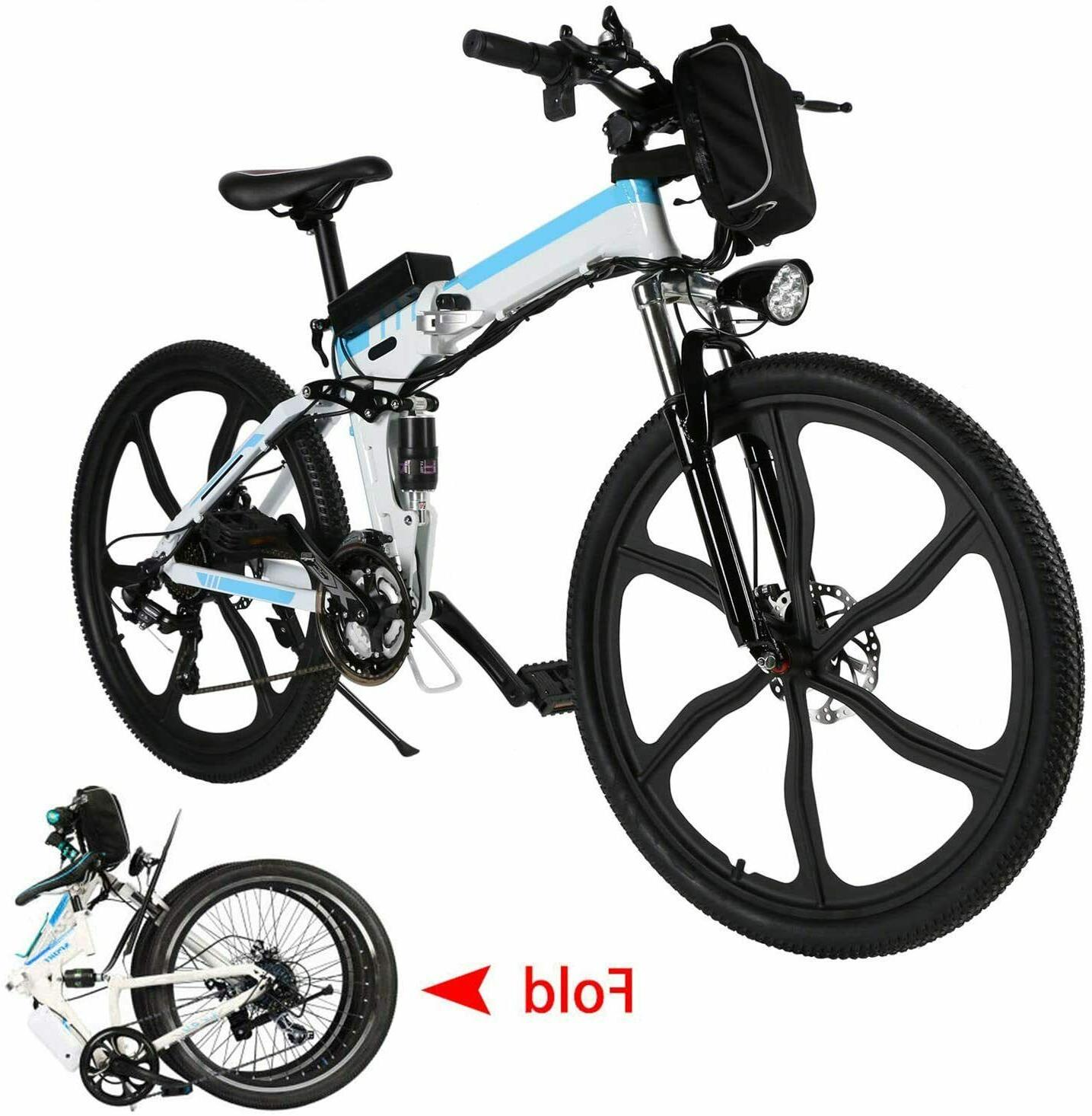 26'' Folding Mountain Bike Ebike Speed Gears Removable