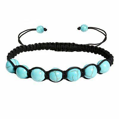 Eigso Turquoise Stone Beads Reiki Bracelets Braided Rope bra