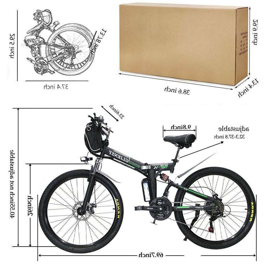 "Black 26"" Folding Electric Cycling EBike 36V 350W US"