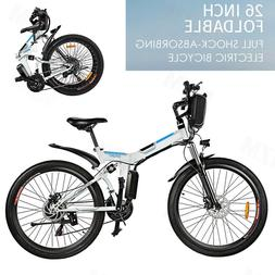 New 26''Folding Electric Mountain Bike,8Ah Li-Battery+ 21 Sp