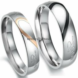"""Stainless Steel """"Real Love"""" Heart Couples Promise Engagement"""