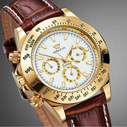 OUYAWEI Men Skeleton Mechanical Automatic Watch Black Leathe