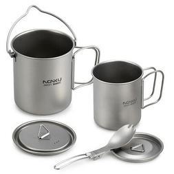 Lixada Titanium Cup/Pot/Spoon for Outdoor Camping Picnic Hik