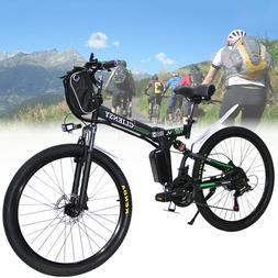 "Black 26"" CLIENSY Folding Electric Bike City Mountain Cyclin"